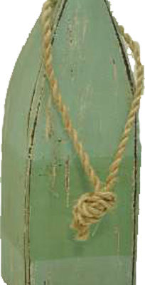"""11""""h Distressed Teal & Green Wooden Square Buoy Decor"""