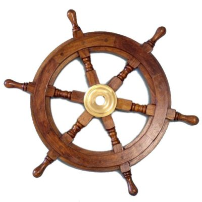 "15""Diameter Deluxe Class Wood and Brass Decorative Ship Wheel"