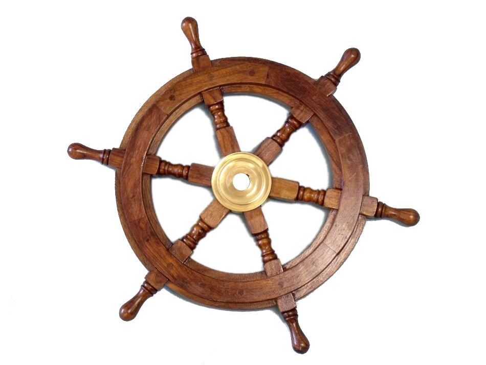 """15""""Diameter Deluxe Class Wood and Brass Decorative Ship Wheel"""