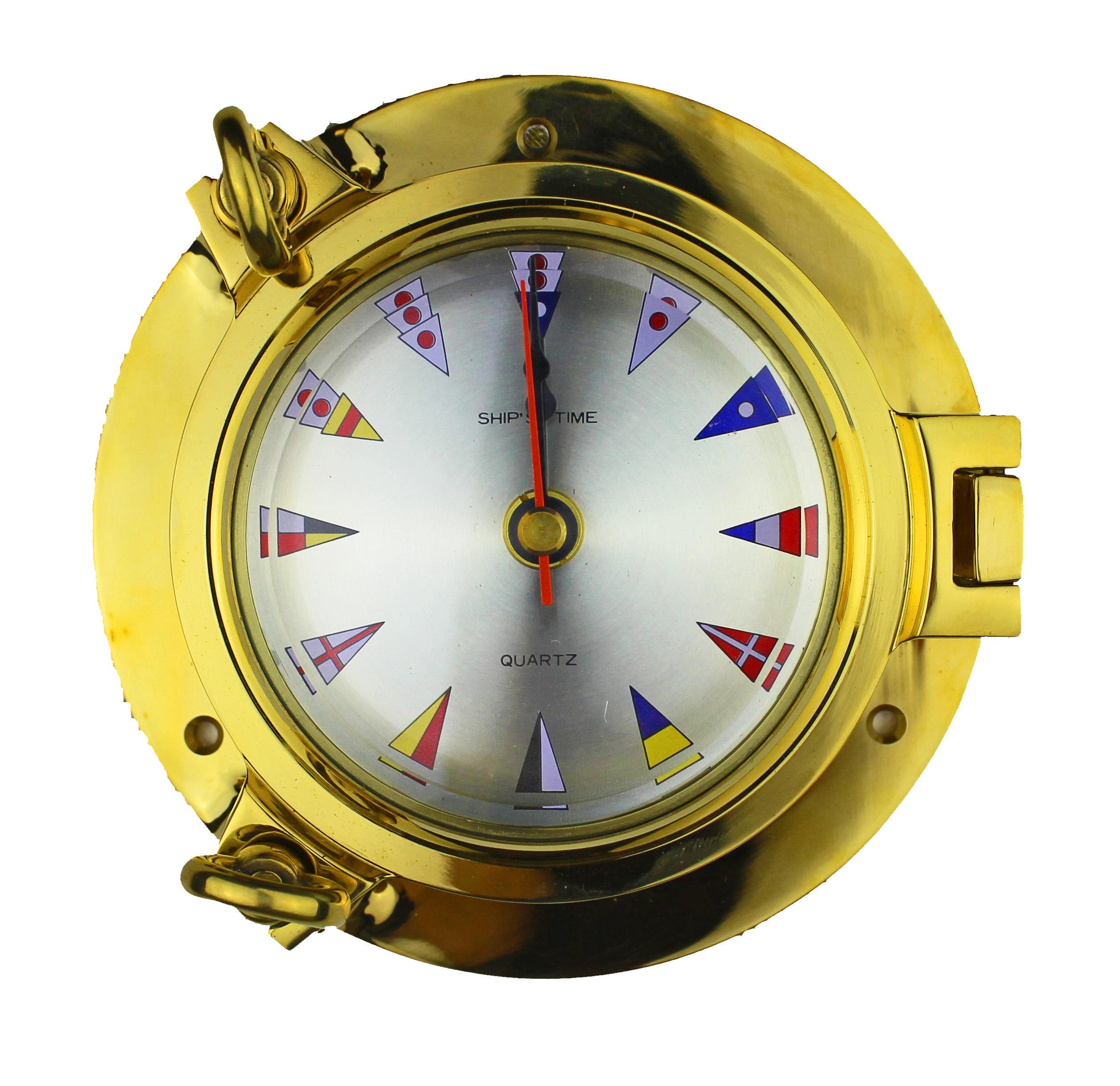 """5.5""""Dia Porthole Clock with Nautical Flag Face"""