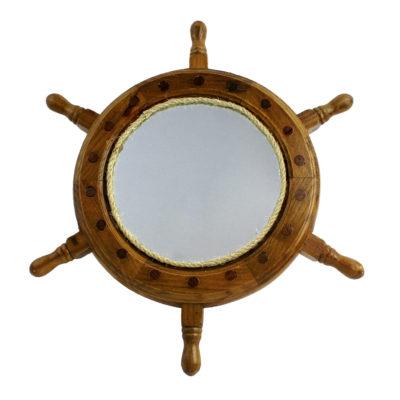 """13""""Dia Wooden Ship Wheel Wall Mirror"""