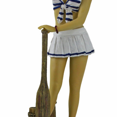 """10""""H Polystone Lady Sailor Figurine with Paddle"""
