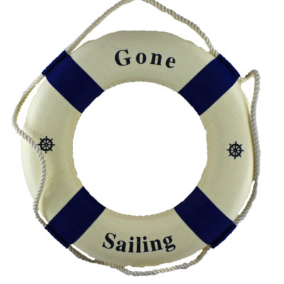 "12""Dia Gone Sailing White & Blue Life Ring"