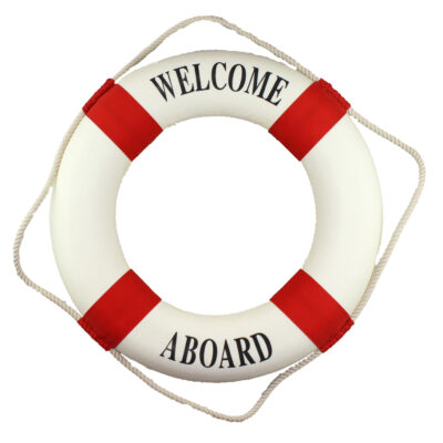 """20""""Dia White & Red Welcome Aboard Canvas Life Ring Decor"""