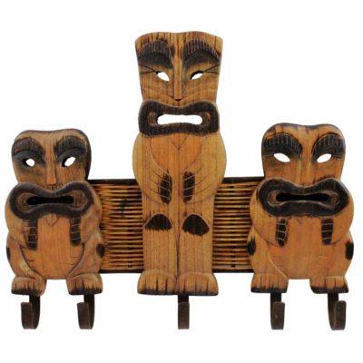 "19.5""L Wooden Tiki Wall Hooks - 5 Prongs"