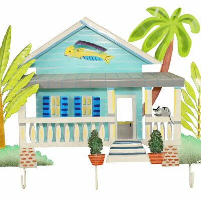 "19""H Metal Blue Key West Beach House Wall Hooks - 3 Prongs"