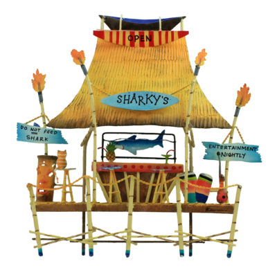 "16""L Metal Sharky's Bar and Grill Wall Decor"