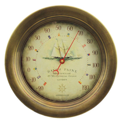 """10.5""""Dia Antiqued Brass Ralph Pain Wall Mount Thermometer"""
