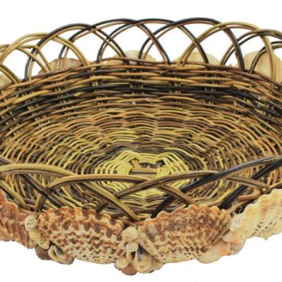 "10""Dia Round Dark Wicker Basket with Shells"