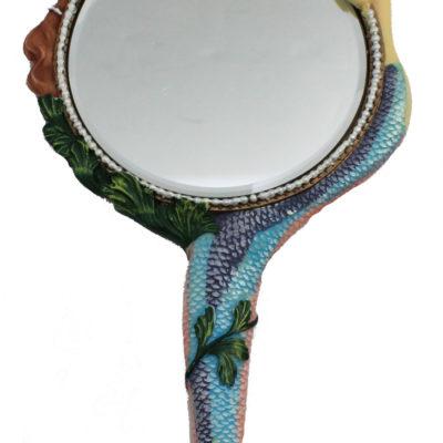 "11""H Cast Resin Mermaid Hand Mirror"