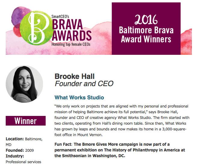 Brooke Hall Baltimore Award