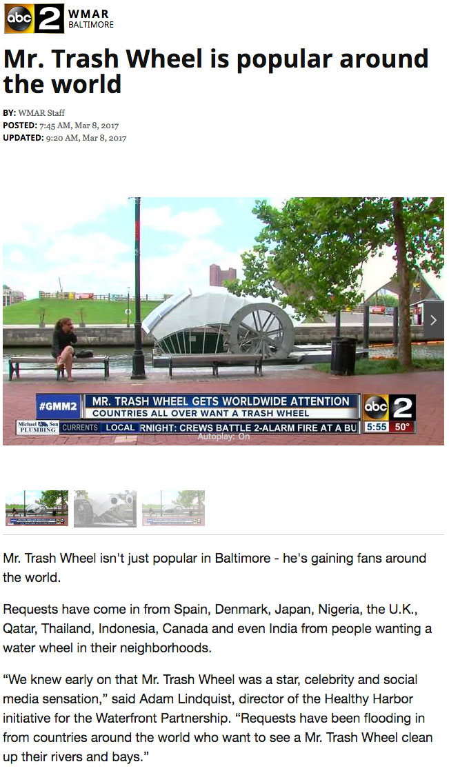 Mr Trash Wheel Created By What Works Studio is Popular Around the World