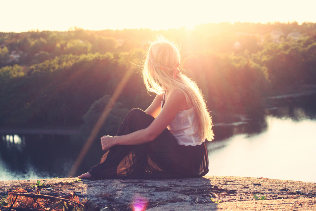 girl looking sunset