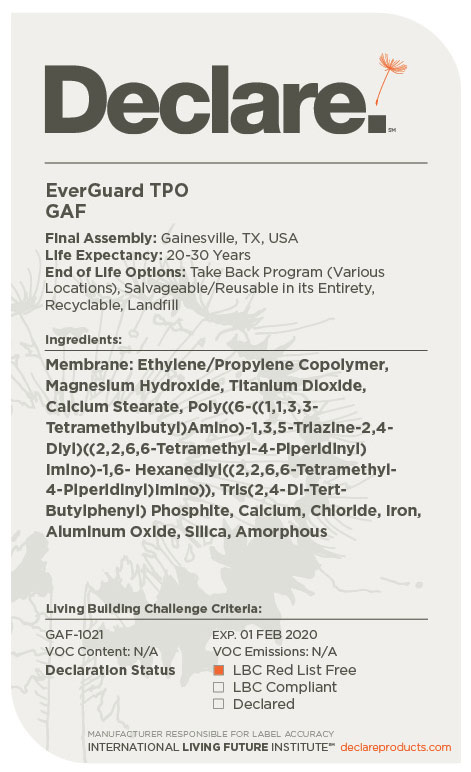 Red List Free Gaf Everguard Tpo