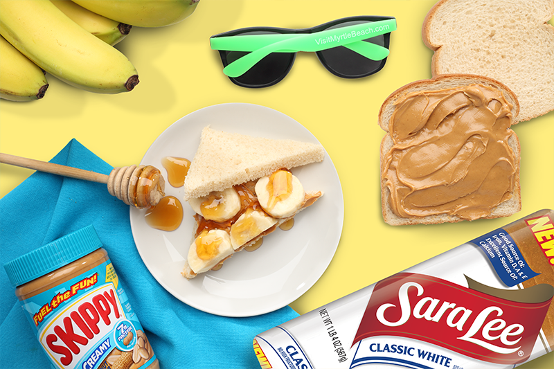 Skippy® Peanut Butter and Sara Lee® Classic White Bread Sweet Sunshine Sammies Recipe. Bread with bananas, honey and peanut butter. Myrtle Beach Sunglasses