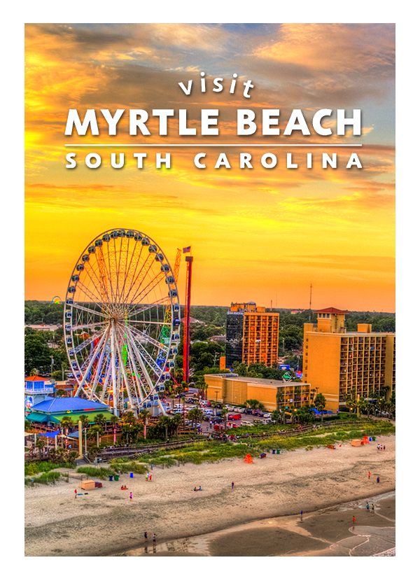 Visit Myrtle Beach South Carolina Tourism photo of the coastline with the SkyWheel and Resorts in the background