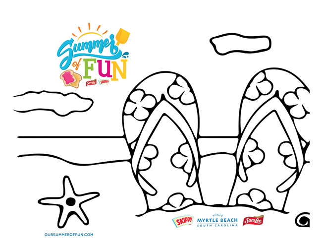 Summer of Fun Beach Sandals Coloring Page
