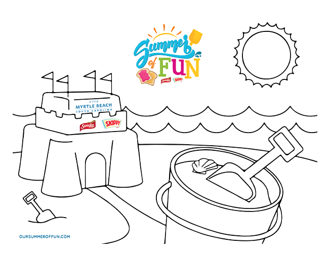 Summer of Fun Sand Castle Coloring Page
