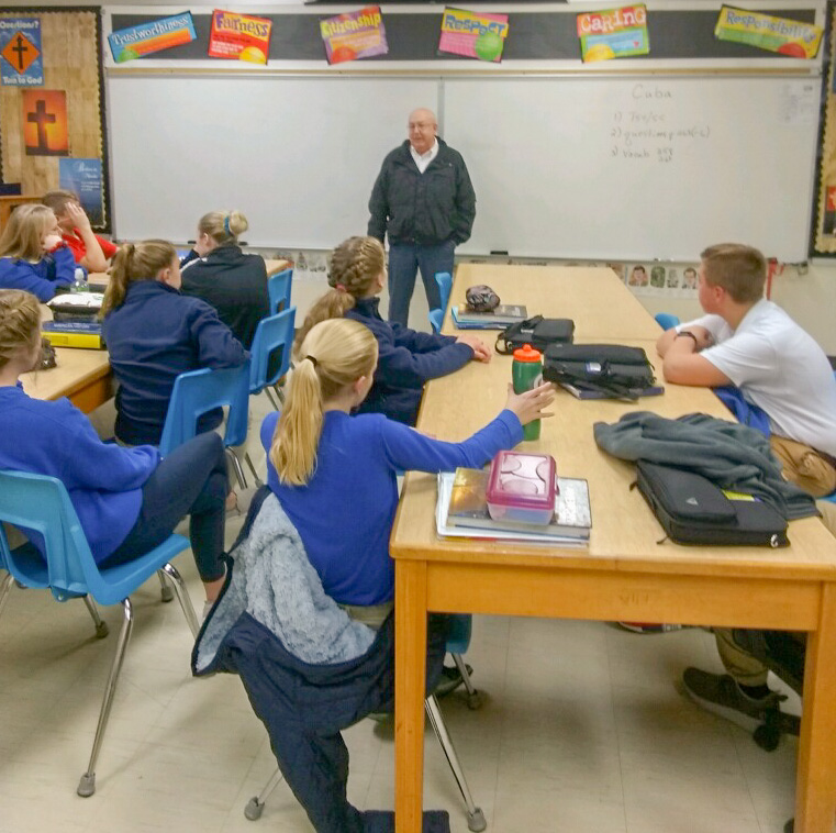 Donnie Winkler, the newly elected mayor of Rockport, speaks to eighth-graders during a recent visit to St. Bernard School. He shared with them his responsibilities as mayor. Submitted photo