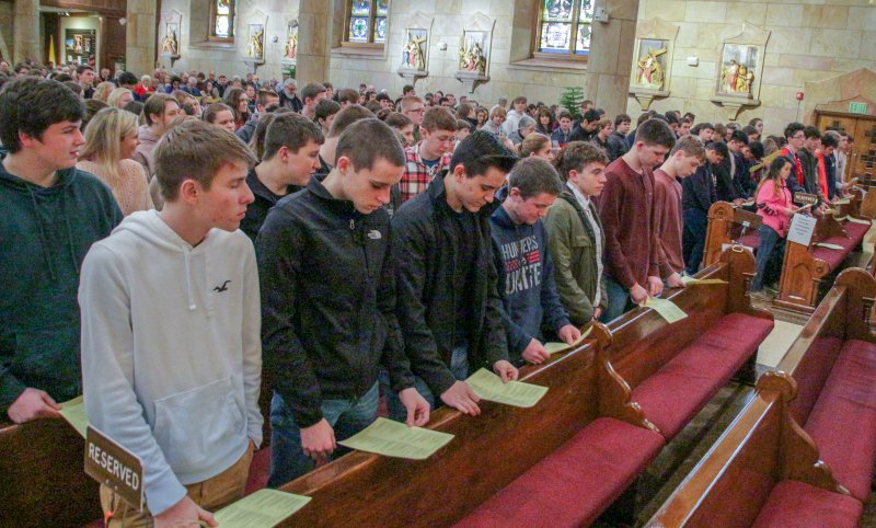 Confirmation candidates from across the diocese concluded the Spectacular by attending Mass at St. Joseph Parish. The Message photo by Tim Lilley