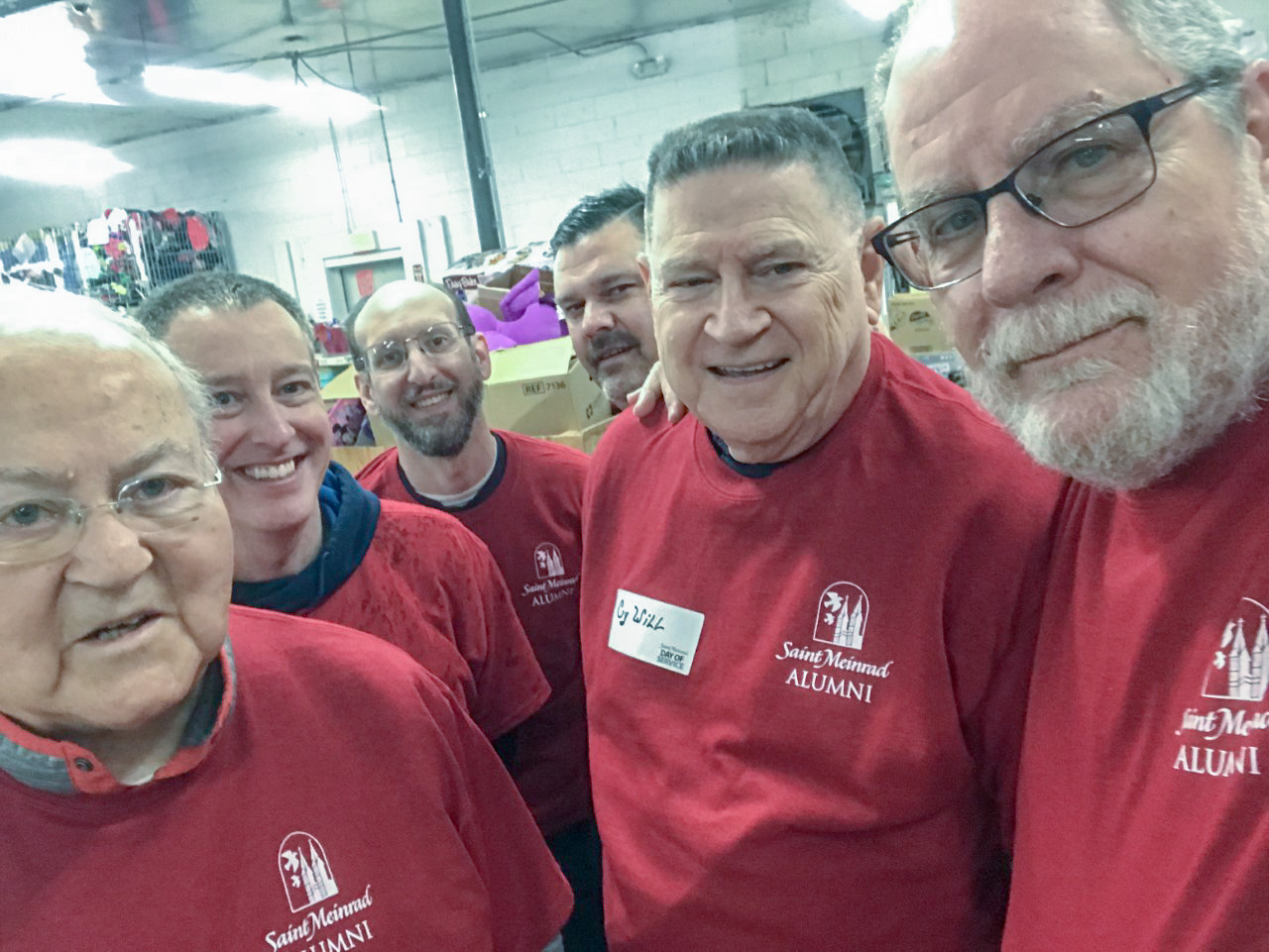 St. Meinrad Day of Service Deacon Rocky Mattingly, right, grabbed this selfie with others who worked at the St. Vincent de Paul Thrift Store in Evansville as part of St. Meinrad's March 14 Day of Service. With him are Father Joseph Ziliak, retired priest of the Diocese of Evansville, left, Bob Bindley, Matt Mounsour, Evansville Day of Service organizer Darrin Sroufe and retired Deacon Cy Will.