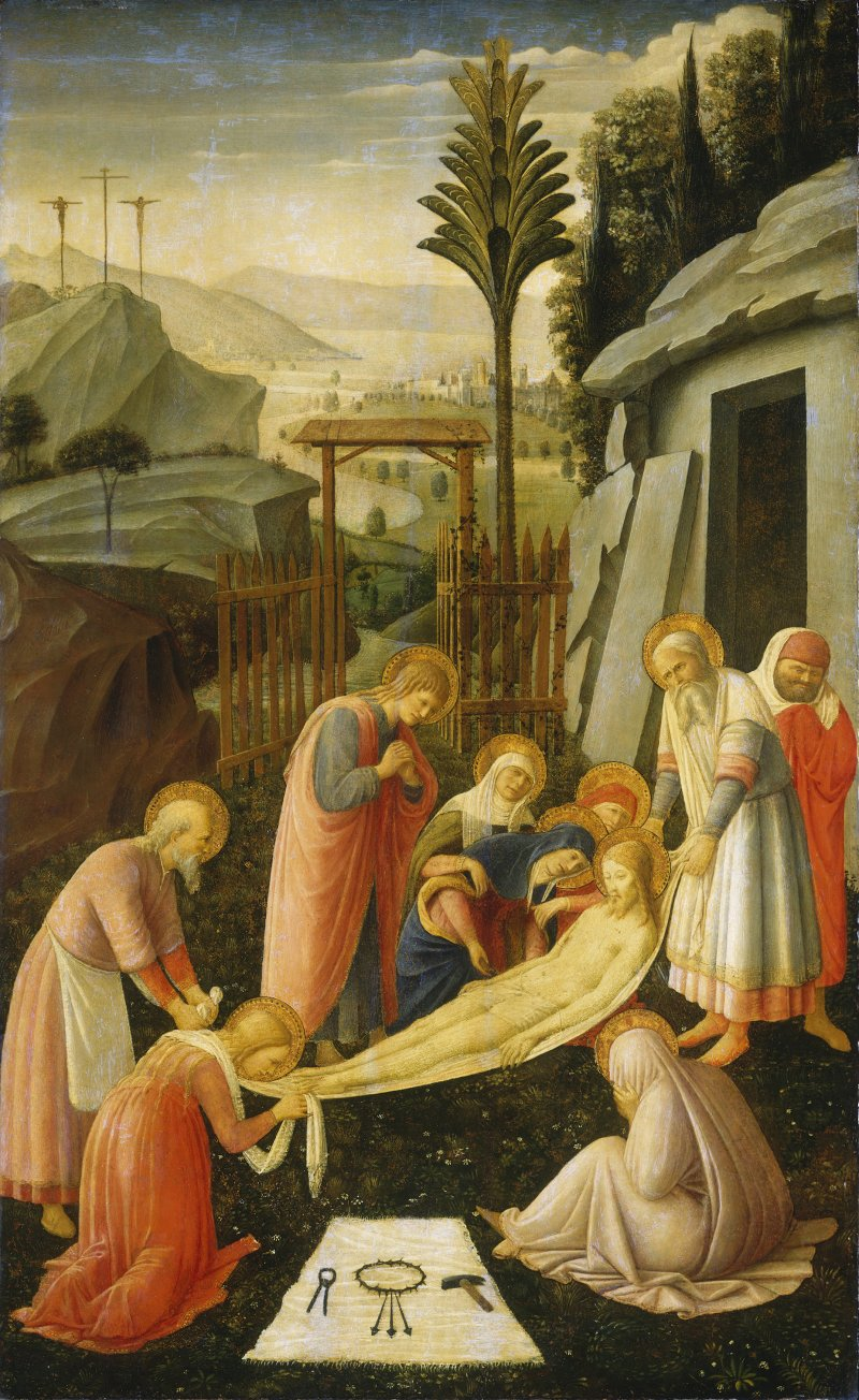 """Fra Angelico's """"The Entombment of Christ"""" places us at the tomb as those who loved Christ and were loved by him prepare his body for burial. Christ's pallid body, cradled in burial cloths, is suspended off the ground between two men tenderly carrying his body toward the tomb.  CNS photo courtesy of the National Gallery of Art"""