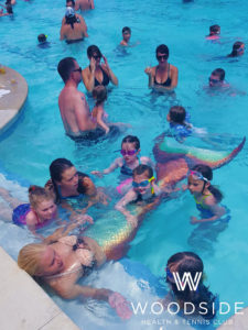 mermaid melissa woodside health club pool party