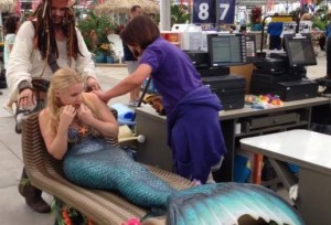 pirate buys a mermaid at checkout