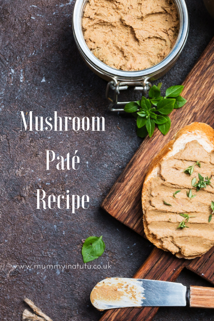 mushroom pate on bread and in a jar