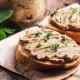 mushroom pate on toast and in a jar