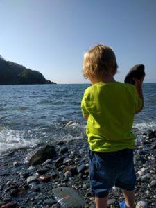 Exploring the beach at Sandaway