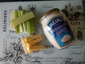 Celery, cheese and Heinz Seriously Good Mayonaisse