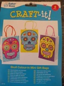 Skull Mini Gift Bags to colour