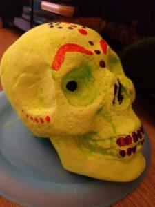 Hand decorated skull