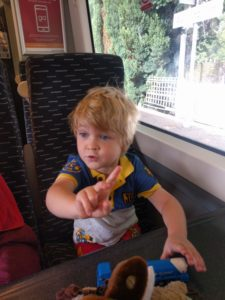 Young boy on a train