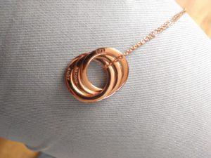 3 ring rose gold necklace personalised jewlery