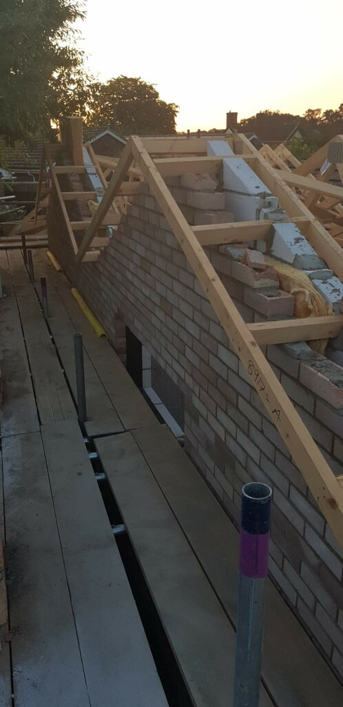Roof being built