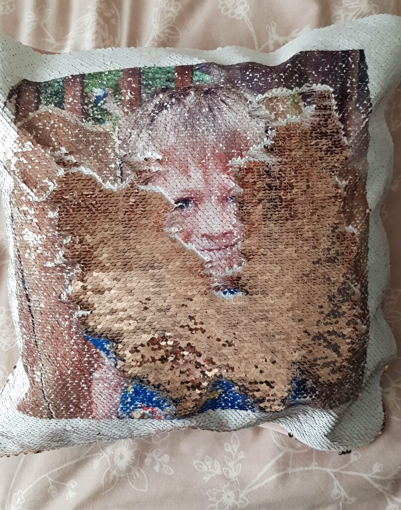 Sequin reveal cushions from asda photo