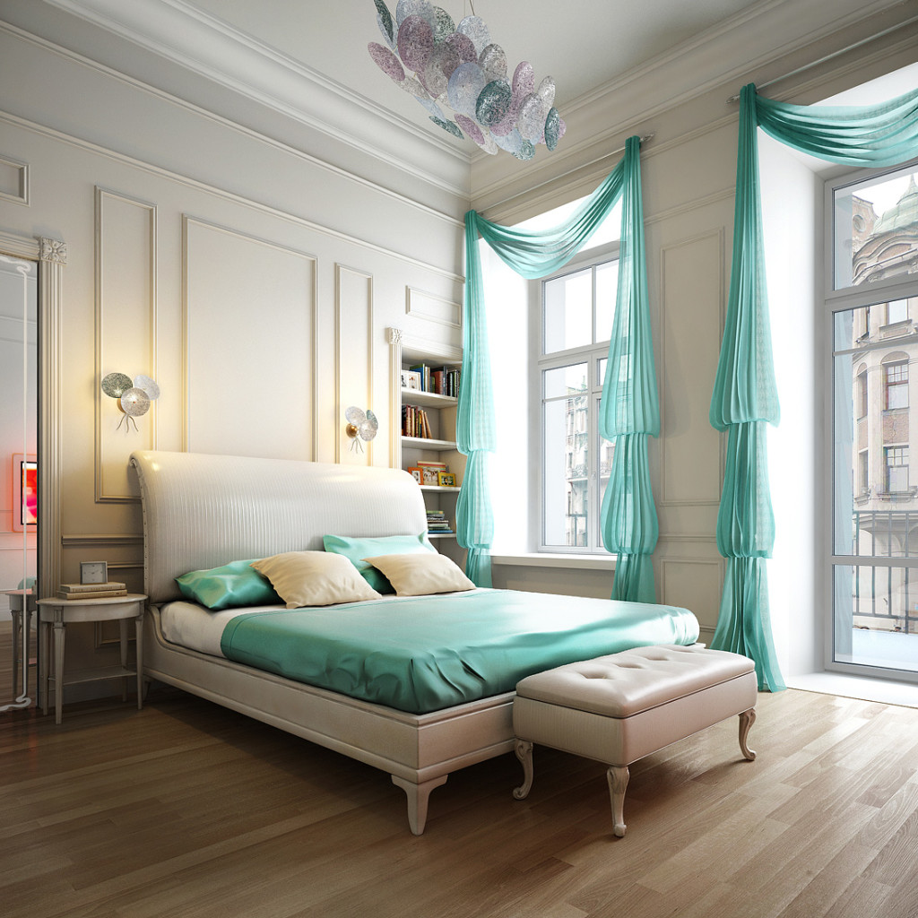 Fashionable Bedroom With Green Curtains And Bed Cover
