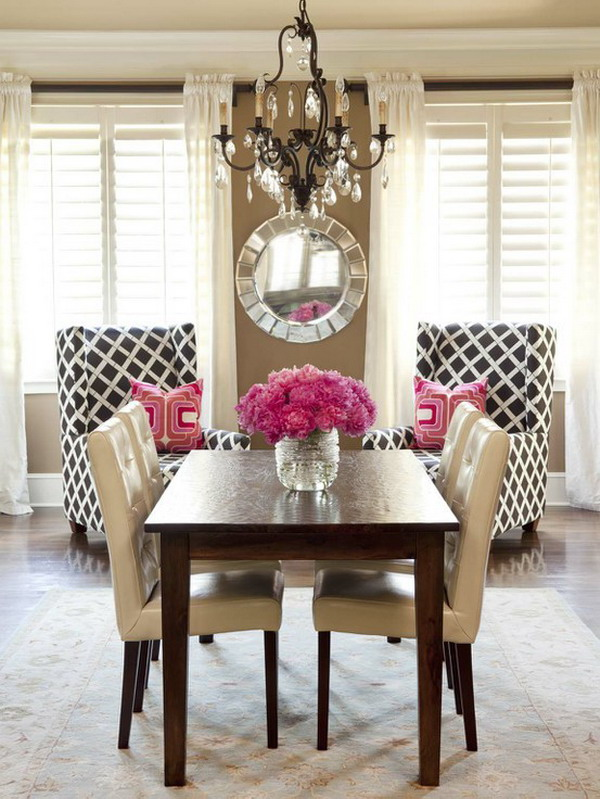 beautiful-dining-room-brown-pink-black-white