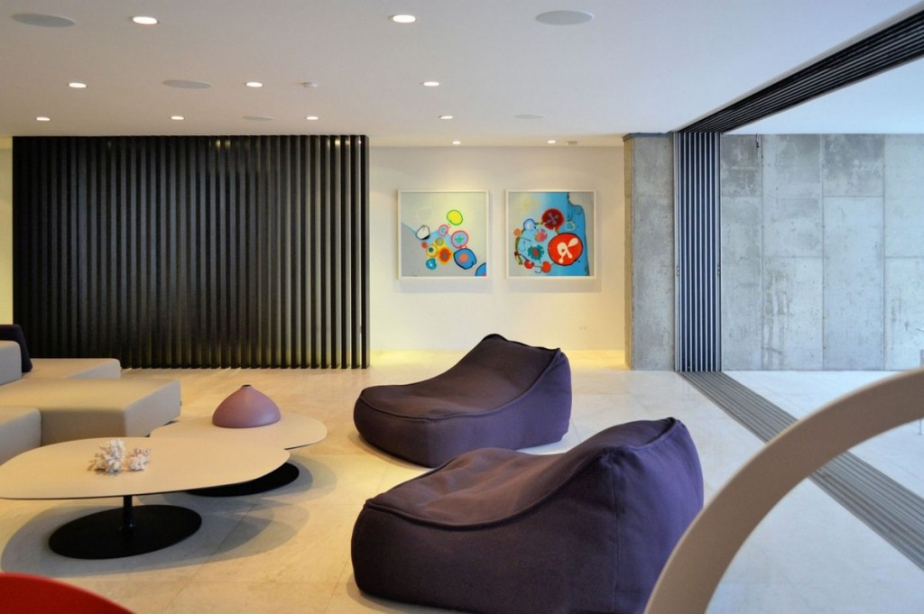 Breezy Living Area With Purple Wool Bean Bag