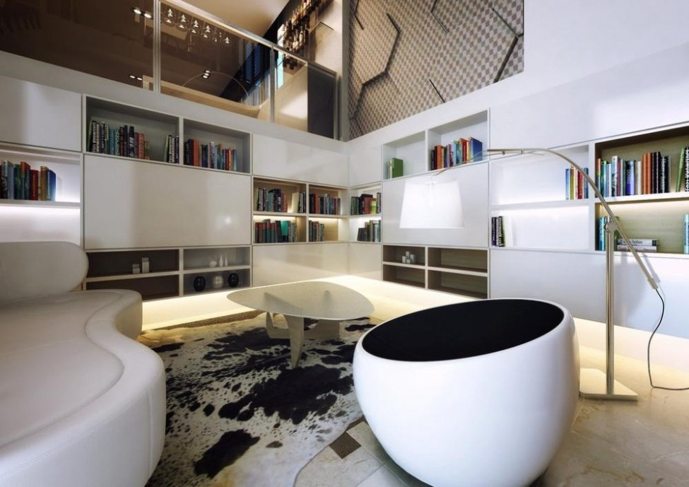 Contemporary-living-room-furniture-narrow-space-high-ceiling