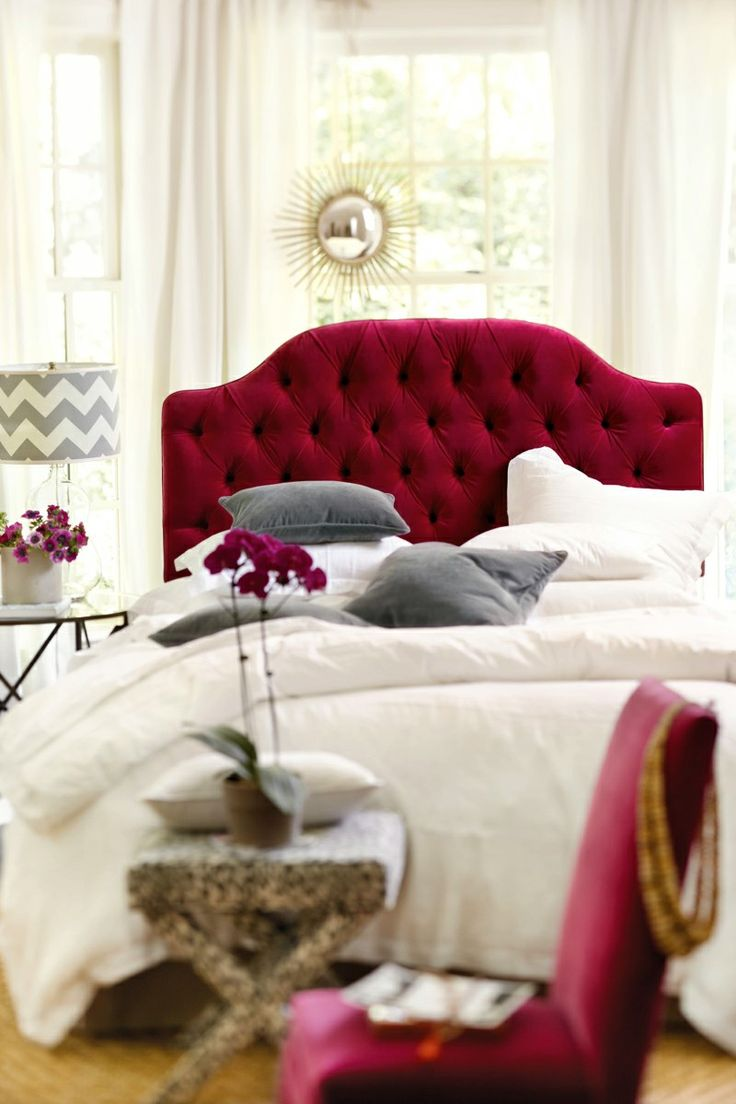 Pink velvet tufted headboard