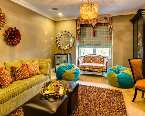 transitional-living-room with colorful bean bags