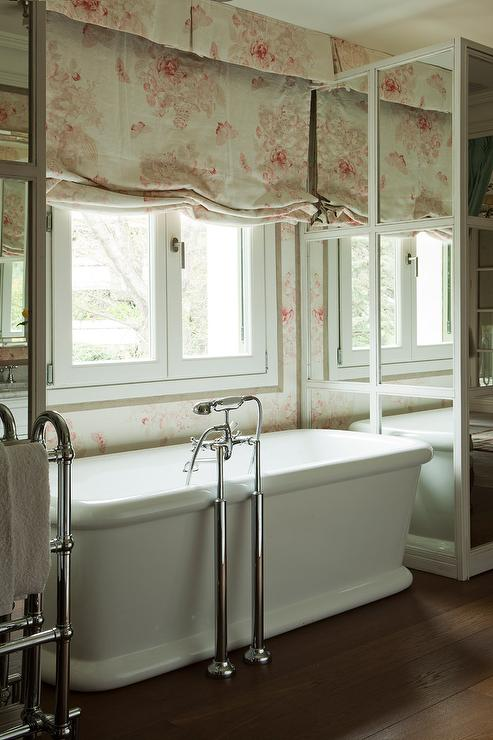 mirrored-bath-cabinets-pink-chintz-roman-shade-shabby-chic-bathroom