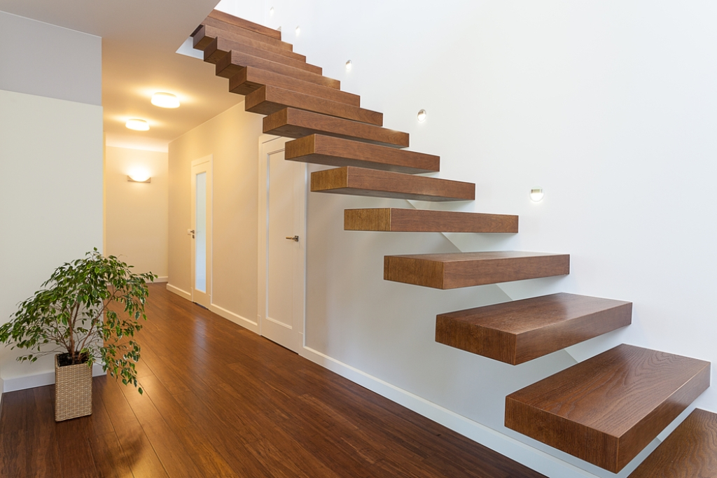 Floating wooden staircase