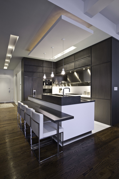 Functional Contemporary Kitchen wuith white seats
