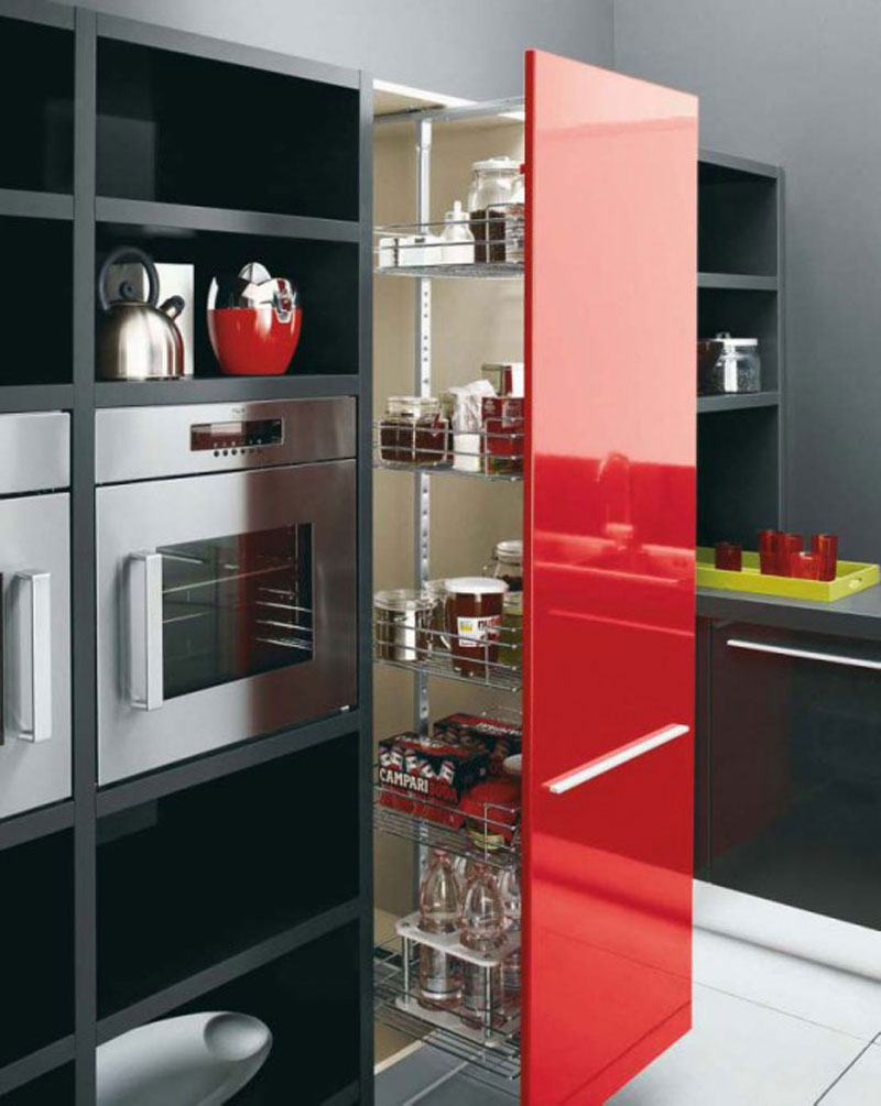 Red Kitchen Design Completed With Contemporary Cabinet And Kitchen Set