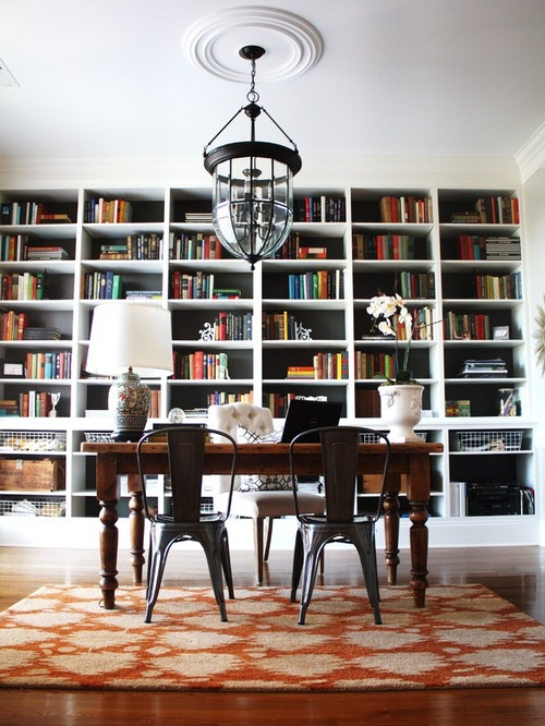 Eclectic Home Office Design with beautiful carpet