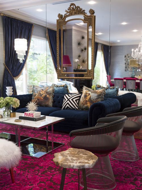 Eclectic Living Room Design Ideas with beautiful velvet rug